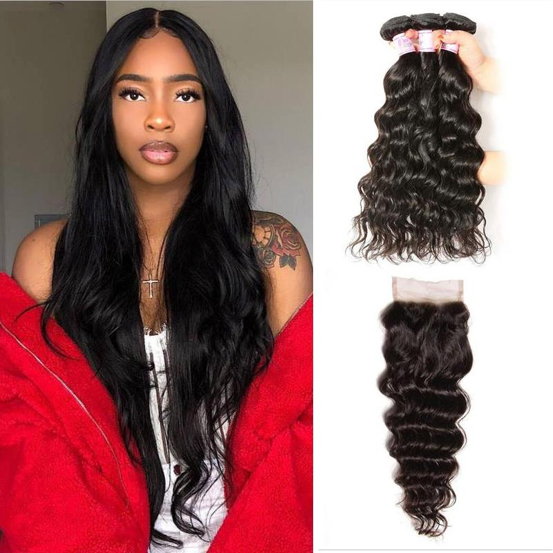 Peruvian Hair 3 Bundles with Lace Closure Natural Wave Hair