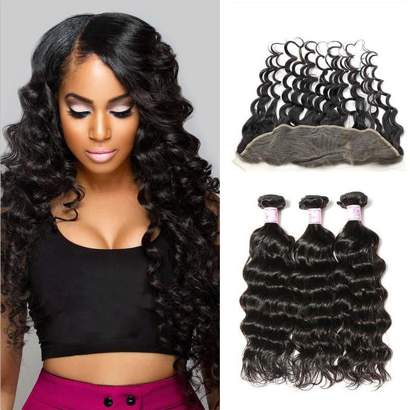 Peruvian Hair 3 Bundles with Lace Frontal Natural Wave Hair