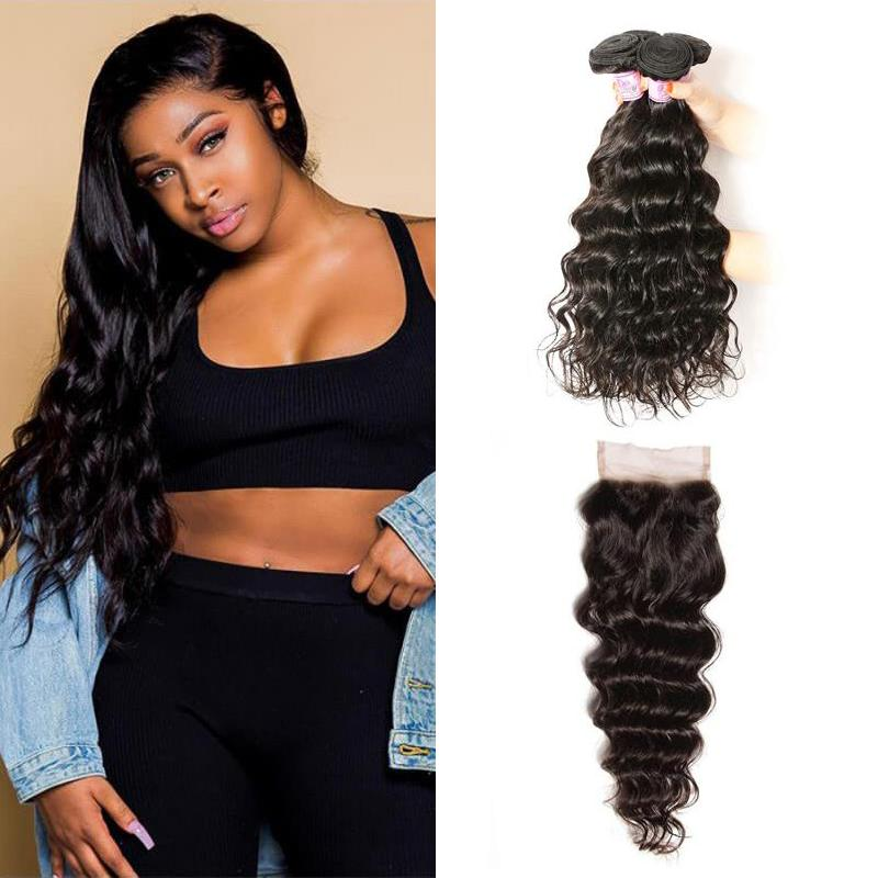 Peruvian Hair 4 Bundles with Lace Closure Natural Wave Hair