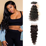 Peruvian Hair 4 Bundles with Lace Closure Natural Wave Hair 100% Human Hair