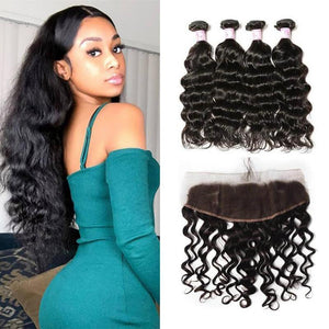 Peruvian Hair 4 Bundles with Lace Frontal Natural Wave Hair