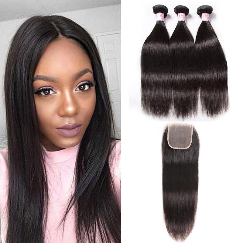 Peruvian Hair 3 Bundles with Lace Closure Straight Hair