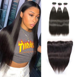 Peruvian Hair 3 Bundles with Lace Frontal Straight Hair 100% Human Hair