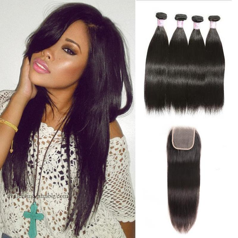 Peruvian Hair 4 Bundles with Lace Closure Straight Hair