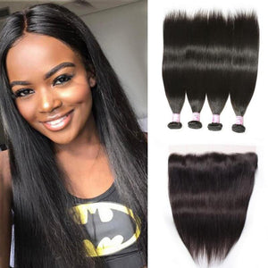 Peruvian Hair 4 Bundles with Lace Frontal Straight Hair