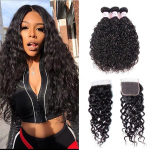 Peruvian Hair 3 Bundles with Lace Closure Water Wave Hair