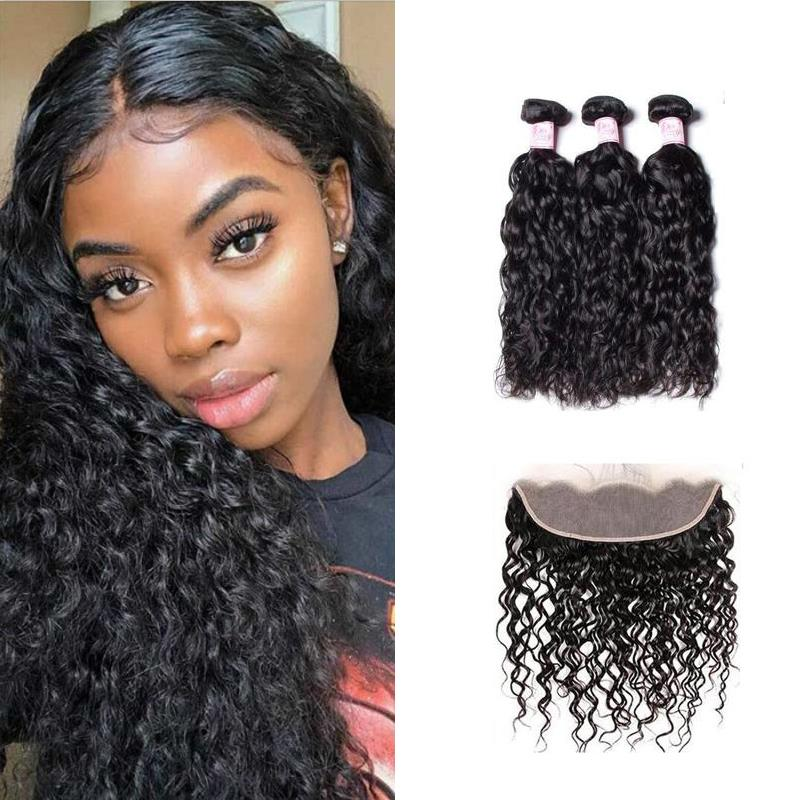 Peruvian Hair 3 Bundles with Lace Frontal Water Wave Hair
