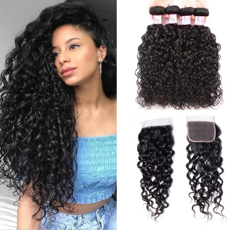 Peruvian Hair 4 Bundles with Lace Closure Water Wave Hair