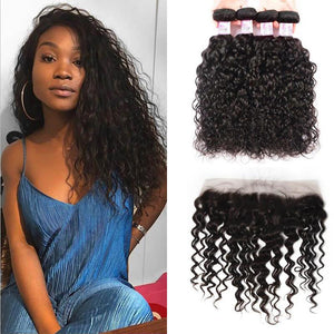 Peruvian Hair 4 Bundles with Lace Frontal Water Wave Hair