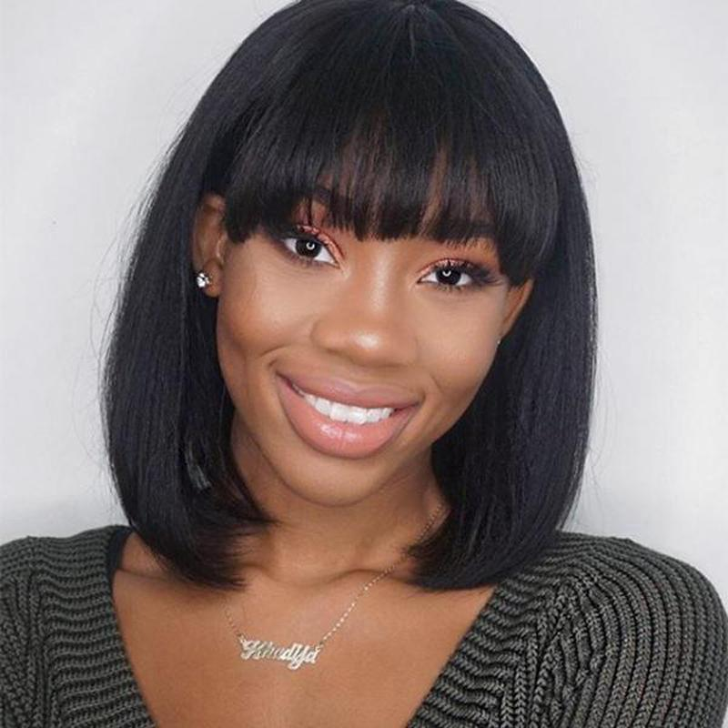 Human Hair Bob Wigs Straight Lace Front Wigs with Bangs
