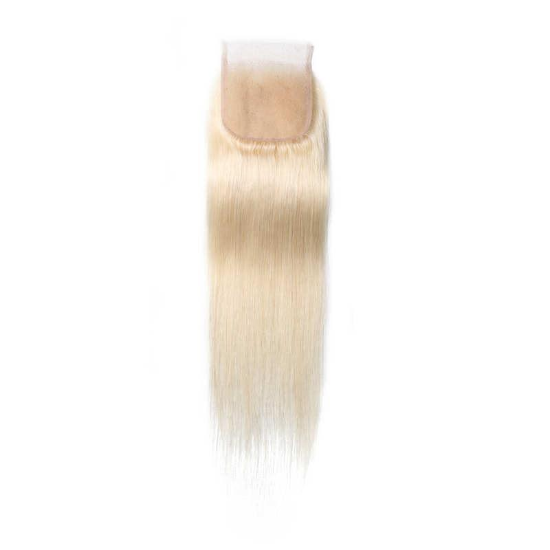 Virgin Hair Straight Lace Closure with Baby Hair (#613 Bleach Blonde)