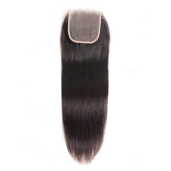 Virgin Hair Straight Lace Closure with Baby Hair (#1B Natural Black)
