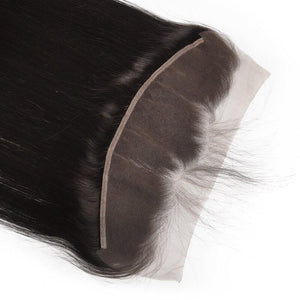 Virgin Hair Straight Lace Frontal with Baby Hair (#1B Natural Black)