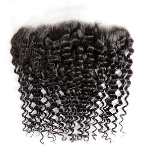 Virgin Hair Deep Wave Transparent Lace Frontal with Baby Hair