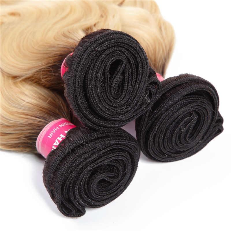Virgin Hair 3 Bundles Body Wave Human Hair (#1B/613 Blonde)