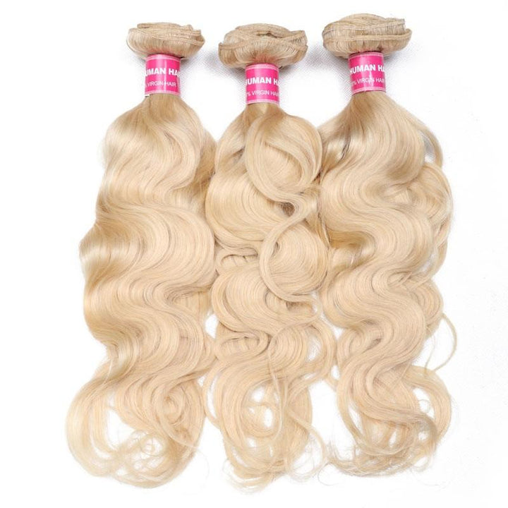 Virgin Hair 3 Bundles Body Wave Human Hair (#613 Blonde)