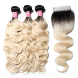 Virgin Hair 3 Bundles with Lace Closure Body Wave (#1B/613 Bleach Blonde)