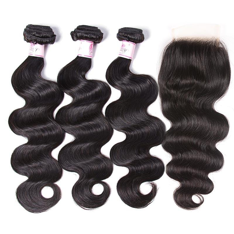 Peruvian Hair 3 Bundles with Lace Closure Body Wave Hair 100% Human Hair