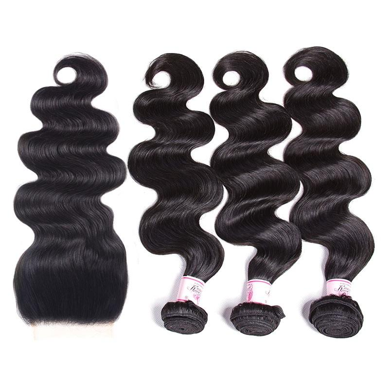 Malaysian Hair 3 Bundles with Lace Closure Body Wave Hair 100% Human Hair