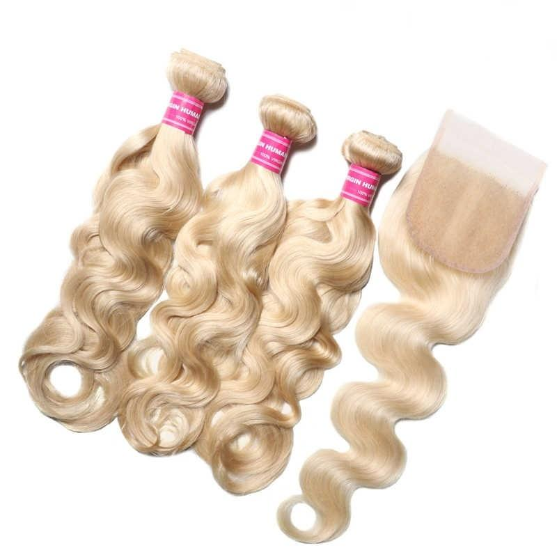 Virgin Hair 3 Bundles with Lace Closure Body Wave Hair (#613 Blonde)