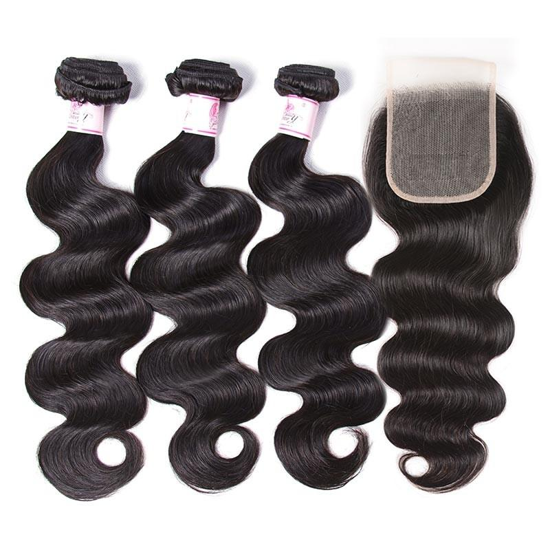 Indian Hair 3 Bundles with Lace Closure Body Wave Hair 100% Human Hair