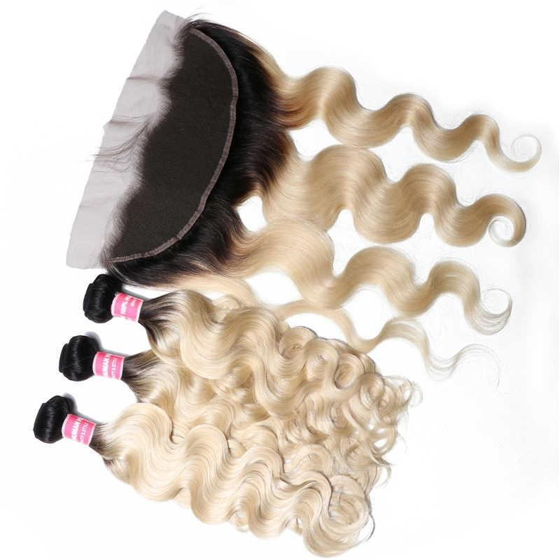 Virgin Hair 3 Bundles with Lace Frontal Body Wave Hair (#1B/613 Blonde)