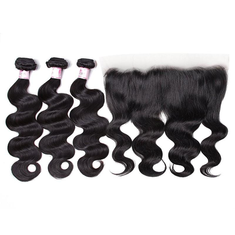 Indian Hair 3 Bundles with Lace Frontal Body Wave Hair 100% Human Hair