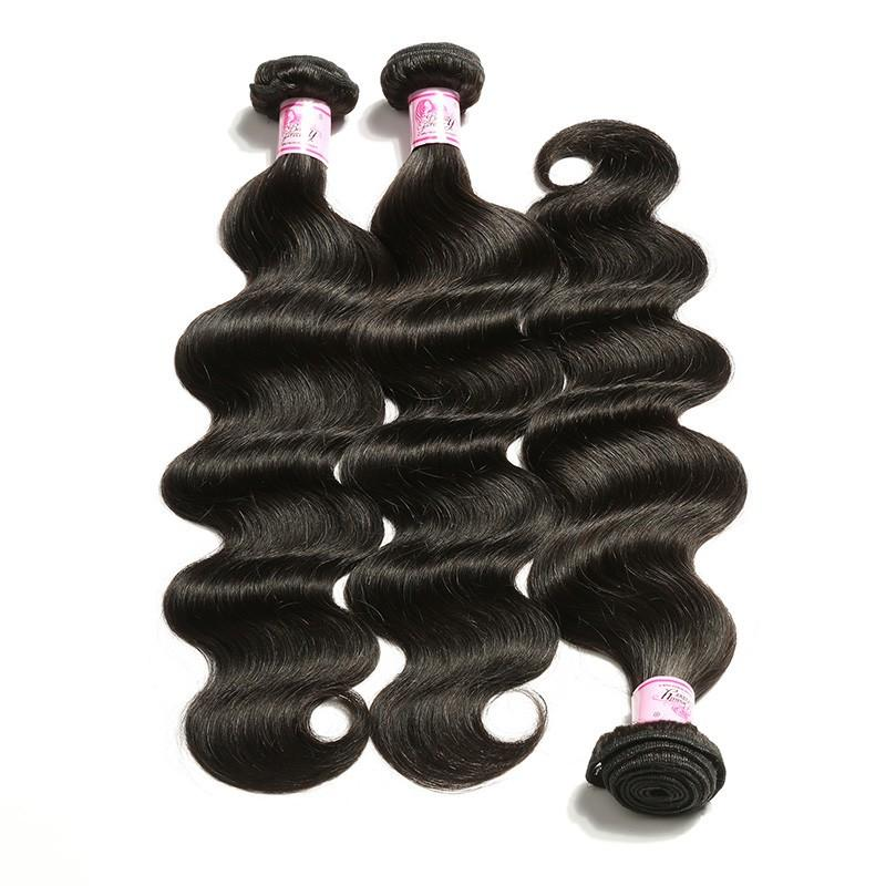 Peruvian Hair 3 Bundles with Lace Frontal Body Wave Hair 100% Human Hair