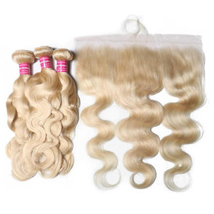 Virgin Hair 3 Bundles with Lace Frontal Body Wave Hair (#613 Blonde)