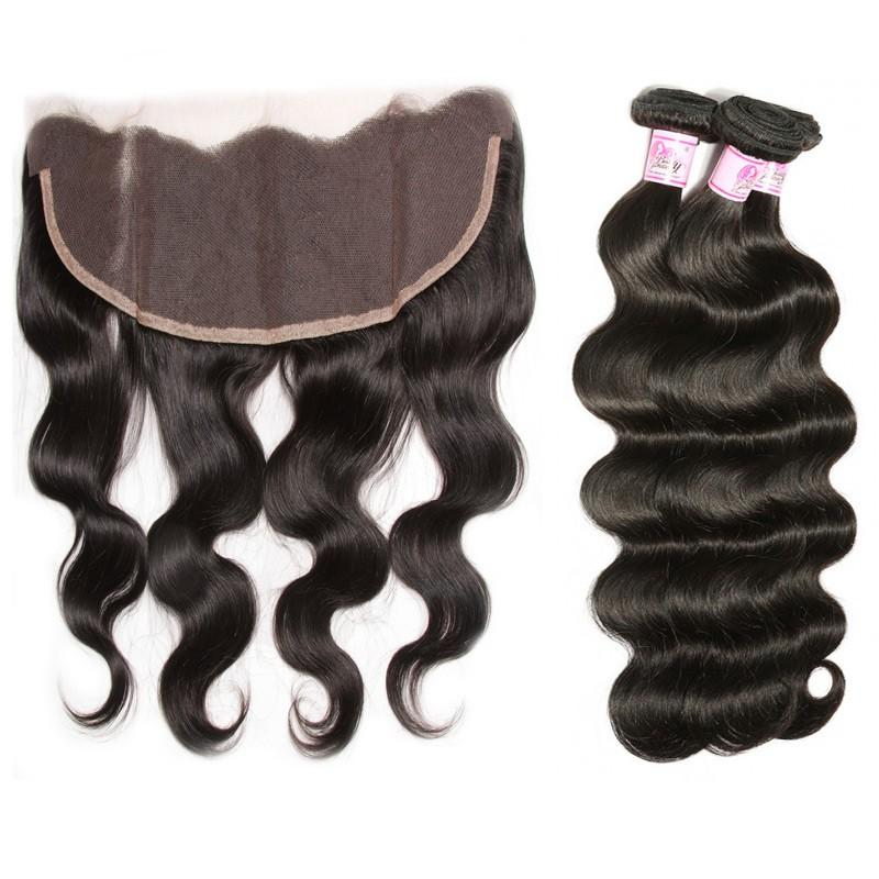 Malaysian Hair 3 Bundles with Lace Frontal Body Wave Hair 100% Human Hair