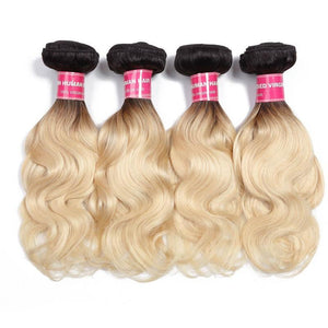 Virgin Hair 4 Bundles Body Wave Human Hair (#1B/613 Blonde)