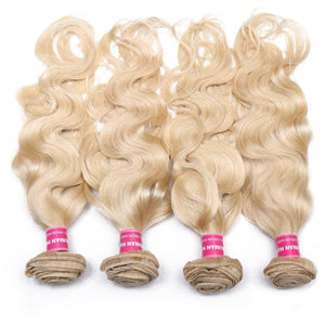Virgin Hair 4 Bundles Body Wave Human Hair (#613 Blonde)