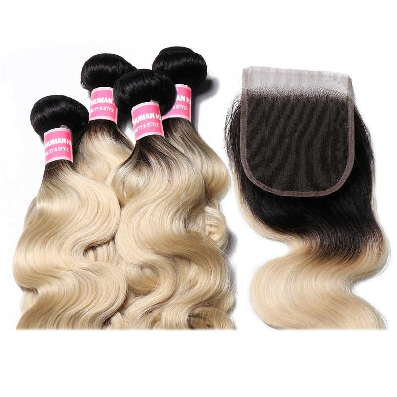 Virgin Hair 4 Bundles with Lace Closure Body Wave Hair (#1B/613 Blonde)