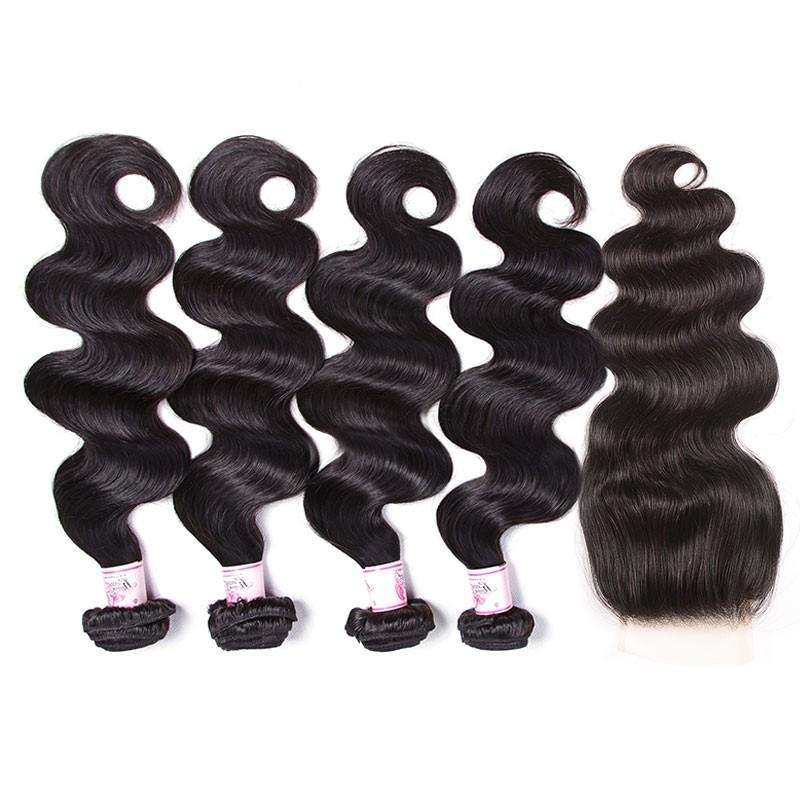 Peruvian Hair 4 Bundles with Lace Closure Body Wave Hair 100% Human Hair