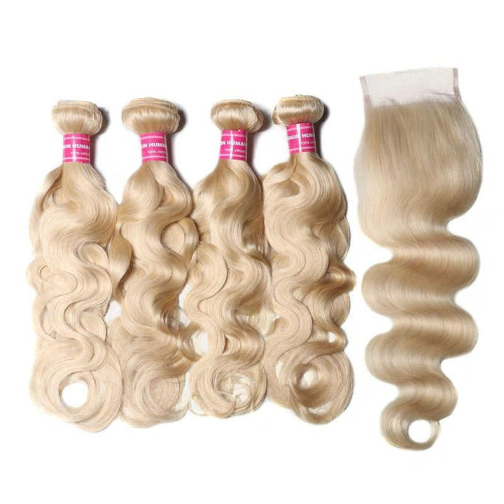 Virgin Hair 4 Bundles with Lace Closure Body Wave Hair (#613 Blonde)