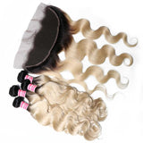 Virgin Hair 4 Bundles with Lace Frontal Body Wave Hair (#1B/613 Blonde)