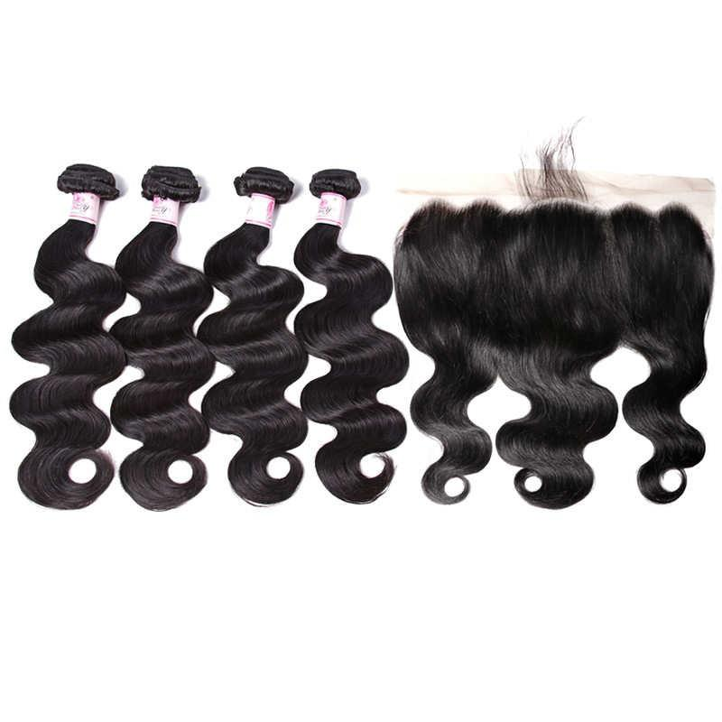Indian Hair 4 Bundles with Lace Frontal Body Wave Hair 100% Human Hair