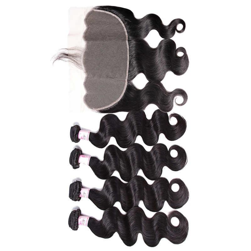 Malaysian Hair 4 Bundles with Lace Frontal Body Wave Hair 100% Human Hair