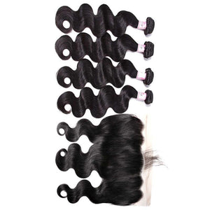 Brazilian Hair 4 Bundles with Lace Frontal Body Wave Hair 100% Human Hair