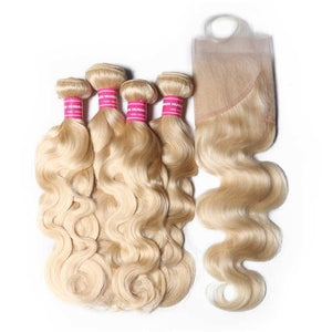 Virgin Hair 4 Bundles with Lace Frontal Body Wave Hair (#613 Blonde)
