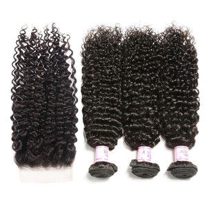 Indian Hair 3 Bundles with Lace Closure Curly Hair 100% Human Hair