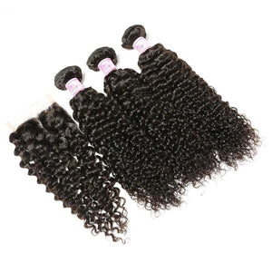 Brazilian Hair 3 Bundles with Lace Closure Curly Hair 100% Human Hair