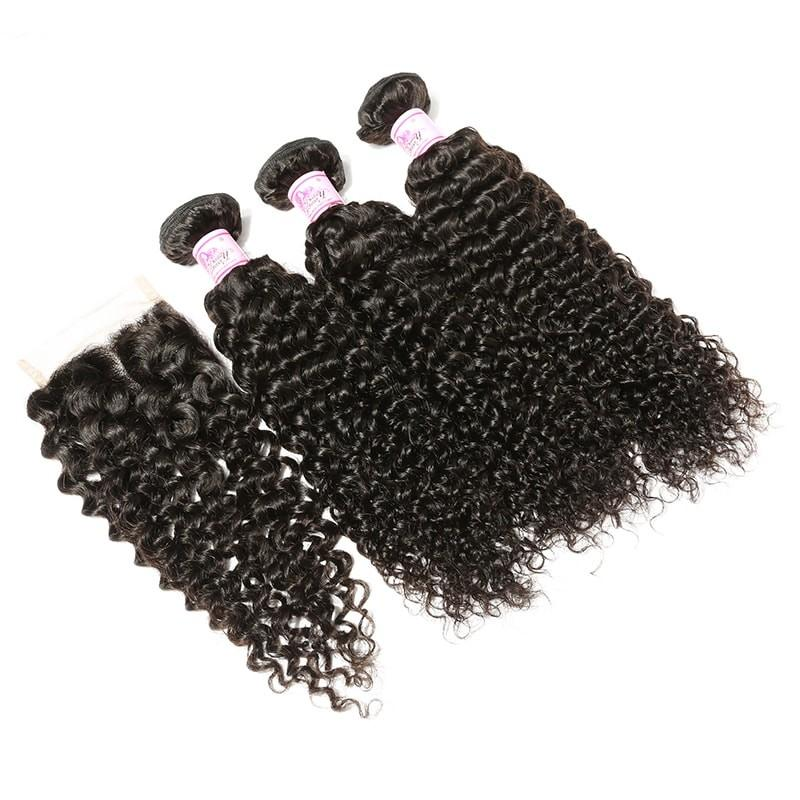 Malaysian Hair 3 Bundles with Lace Closure Curly Hair 100% Human Hair