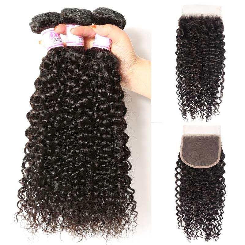 Peruvian Hair 3 Bundles with Lace Closure Curly Hair 100% Human Hair