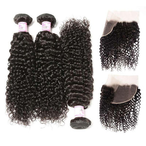 Peruvian Hair 3 Bundles with Lace Frontal Curly Hair 100% Human Hair