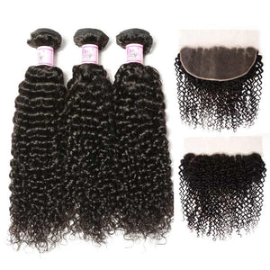 Brazilian Hair 3 Bundles with Lace Frontal Curly Hair 100% Human Hair