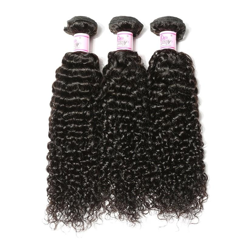Malaysian Hair 3 Bundles with Lace Frontal Curly Hair 100% Human Hair