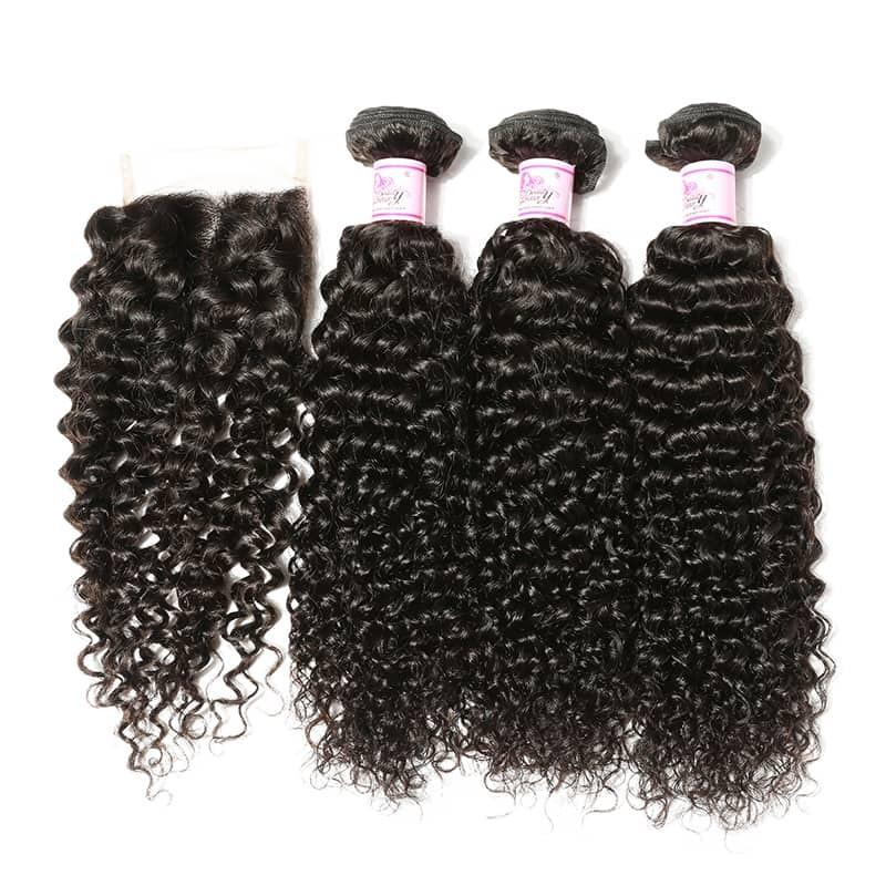Malaysian Hair 4 Bundles with Lace Closure Curly Hair 100% Human Hair