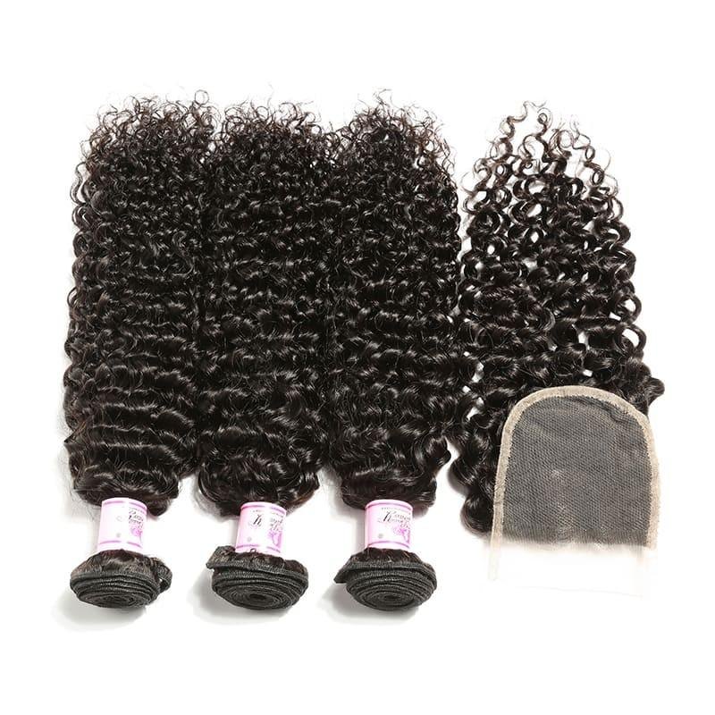 Brazilian Hair 4 Bundles with Lace Closure Curly Hair 100% Human Hair