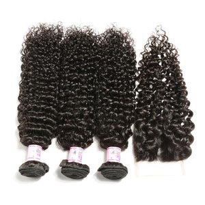 Peruvian Hair 4 Bundles with Lace Closure Curly Hair 100% Human Hair